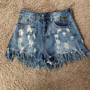 Pants - Ripped Denim Shorts with Butterfly Embroidery